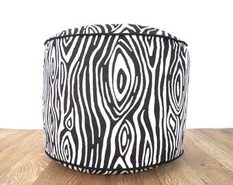 Black pouf ottoman living room decor, black and white floor cushion zebra print, animal print pouf, foot rest Christmas gift for her