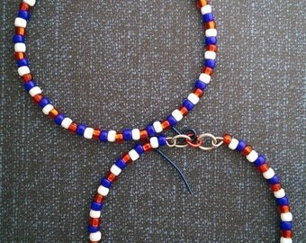 U.S.A. colored beaded hoops