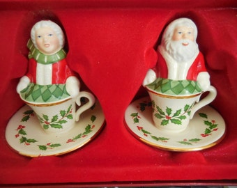 New in Box LENOX Santa and Mrs Claus Salt and Pepper