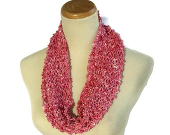 Pink Scarf, Knit Cowl, Loop Scarf, Circle Scarf, Spring Scarf, Mother's Day, Gift For Her, Hand Knit Scarf, Fashion Accessory, Fiber Art,