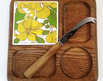 GOODWOOD Solid Oak Wood Cheese Cuttong Board Tray with knife