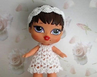 Crochet Pattern - Baby Bratz doll/Blythe similar sized dolls - Dress, Panties, Sandals, Hat and Headband