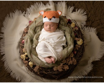 Crochet fox hat, baby boy hat, baby girl hat, fox, photo prop, baby shower gift, fox nursery, coming home hat, crochet newborn hat