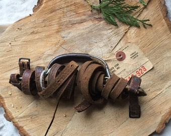 Antique travel accessory 1920s leather strap luggage great gatsby era  dust bowl era 1930s prop