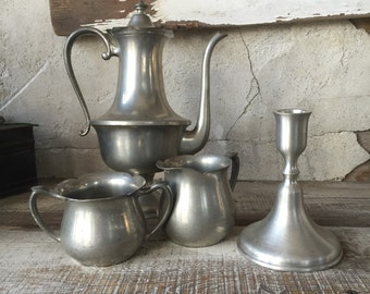 pewter collection| instant collection pewter coffee pot/ sugar creamer/ candleholder