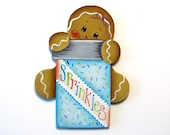 Ginger With Sprinkles Fridge Magnet or Ornament, Handpainted Wood Gingerbread