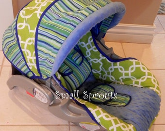 Blue Green Stripe Deco/Blue Minky Dot infant baby 5 piece car seat cover set
