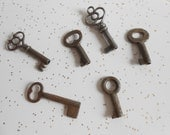 Antique Late 1800's to Early 1900's Small Skeleton Keys/Barrel Keys/Set of 6/Variety of Styles/Shapes