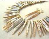SALE STRIKING Mother-of-Pearl & Gold Vermeil Lei, dramatic earrings, statement necklace set by SandraDesigns