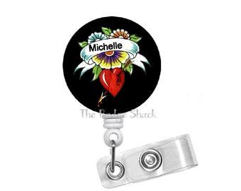 "Tattoo Heart 1.5"" ID Badge Holder - Badge Reels - Cardiac Nurse Badge - Teacher Badge Reel - Hospital Staff Badge - Nurse Gift - RN"