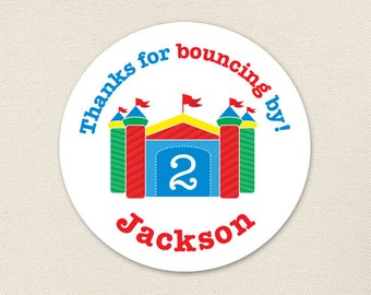 Bounce House Party Favor Stickers - Sheet of 12 or 24