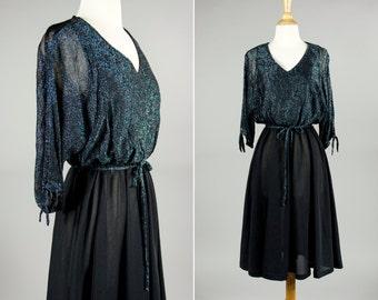 Vintage 1970's Glamorous Black and Blue Metallic Dolman Cocktail Dress- Size S or M