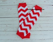 Red and White Chevron Baby Leg Warmers