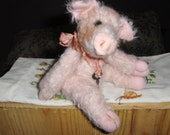 artist collectable 8 inch Percevil, jointed, mohair, piglet,