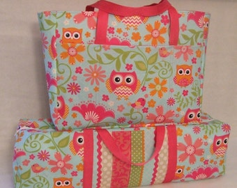 Silhouette Cameo Carrying Case Combo Set/ Laptop Accessory Bag/ Cricut Expression Bag/ Owl Print Fabric