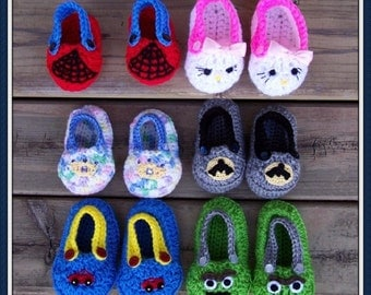 Eight Different Character Bootie Crochet Patterns in Four SizesPDF - INSTANT DOWNLOAD.