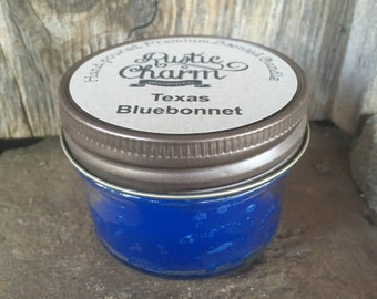 Texas Bluebonnet Scented Candle 4 oz Mini Mason Jar Rustic Charm