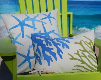 "TWO CORALS LUMBAR blue and green ships tomorrow outdoor pillow 15""x20"" painted coastal beach shelling aquarium tropical"