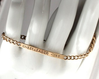 SALE Vintage Gold Fill Cheerleader Bracelet 1965 Initials