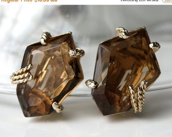 sale Vintage Smokey Quartz Color Glass Stone Earrings