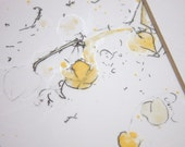 Original Watercolor Painting, Yellow Tree Buds