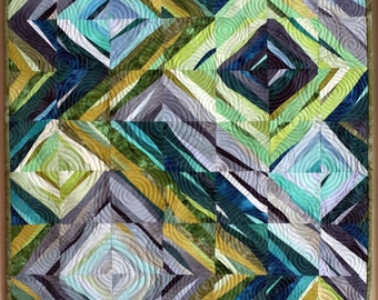 Art quilt, wall hanging, abstract quilt- Water Marks #3