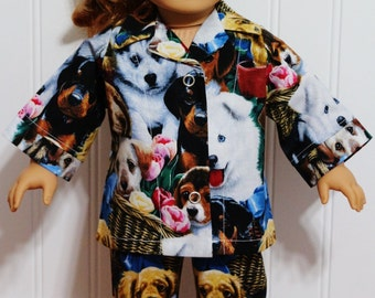 "Precious PUPPIES Cotton Doll Pajamas fit 18"" Doll  - Proudly made in America"