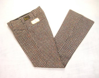 1970s NOS Color Fleck Tweed Pants Vintage Retro Jules Sett Ltd. Italian Houndstooth Flare Cut Disco Era Trousers Size 30 x 35 Small