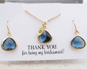 Thank You For Being My Bridesmaid Gift, You Choose Color and Initial, Bridesmaid Jewelry Gold, Bridesmaid Jewelry Set, Bridesmaid Thank You