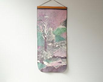 Vintage Barkcloth Wall Hanging, Textile Art