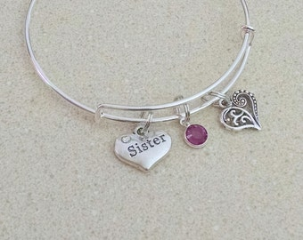 Sister Jewelry, Sister Bracelet, Sister Gift, Personalized Bangle Bracelet, Birthstone Bangle, Gift for Sisters