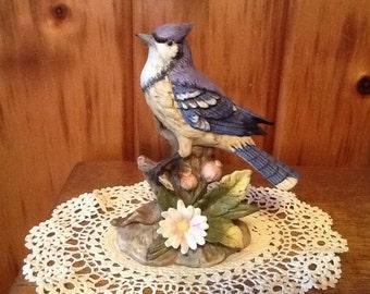 Vintage Homco Blue Jay Porcelain Figurine