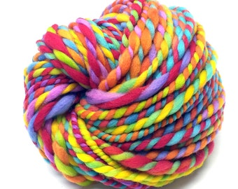 Super bulky rainbow yarn, handspun in hand painted and hand dyed wool - 49 yards, 3.8 ounces, 108 grams