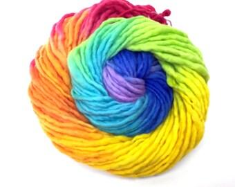 Bulky  handpainted rainbow yarn, handspun in merino wool - 50 yards and 1.95 ounces/55 grams
