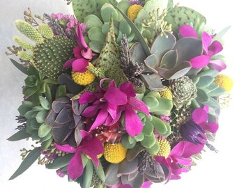 Bridal bouquet, succulents, cacti, aloe, lavender, billy balls and orchids