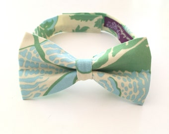 Boys Bow Tie - Floral Print floral tie - Ivory Cream Blue Green Poppy Bow Tie any size boys bowtie wedding ring bearer bowtie and suspenders