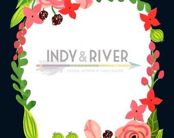 Printable floral wreath