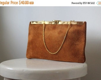 Suede Clutch Purse 1970s Bag Leather Clutch Purse Leather Evening Bag with Gold Tones Small Suede Bag