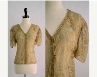 Vintage Lace Blouse Antique Lace Blouse 1930s Blouse 30s Blouse Semi Formal Top Holiday Blouse Womens Blouse Christmas Top Size Medium Med