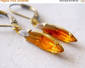 SALE Topaz Estate Style Earrings, Light Brown Jewel Earrings, Vintage Glass Earrings, Marquise Dangles, Sepia Light Topaz Jewels