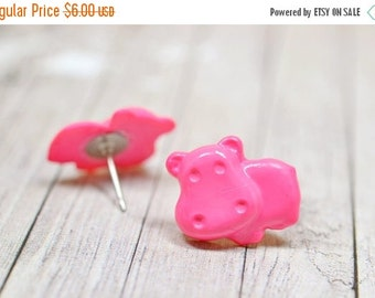 SALE Pink Hippo Earrings, Bright Pink Hippopotamus Earrings, Cute Jewelry, Adorable Animal Jewelry, Hungry Hippo Jewelry, Vegan Jewelry