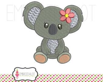 Cute koala embroidery design. Such a cute Australian embroidery design. Aussie embroidery. Girly embroidery. Girl koala design.