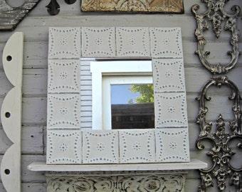 Vintage tin tile mirror. 2'x2' Antique architectural salvage ceiling tin tile. Off white wall mirror. Bathroom mirror, Embossed pressed tin.