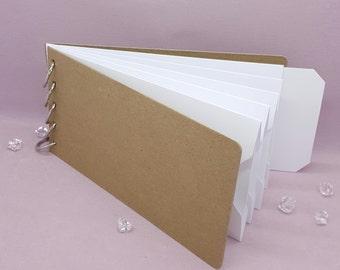 "White, Pocket Tag, Chipboard Album, Size 8-1/4"" x 4-1/4"", Scrapbooking, Memory Keeping, Photo Album, Kraft Covers"