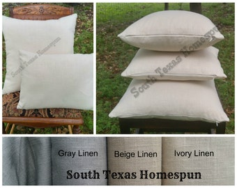 "Linen Pillow Cover Blank  invisible Zipper  choose Ivory, Gray or Beige Fabric and  18"" 16"" 20"" or 12""x16"" lumbar"