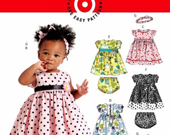 Baby Dress and Panties Pattern, Toddlers' Dress and Panties Pattern, Infant Dress Pattern, Sz 13 to 29 lbs, McCalls Sewing Pattern 5791