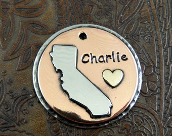 California Dog ID Tag,Custom Pet ID Tag-Handmade Metal Dog Collar ID Tag,Personalized Dog California Dog Tag