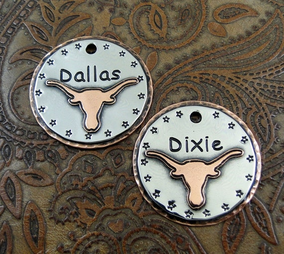 Personalized Pet ID Tag-Longhorn Steer Dog ID Tag-Dog Collar ID Tag-Dog Tag for Dogs