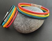 Rainbow leather bracelet, Rainbow bracelet, Mommy and Me bracelets, Best Friend Bracelets