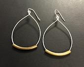 Rustic Hoop teardrop earrings, Mixed Metal Earrings or all silver